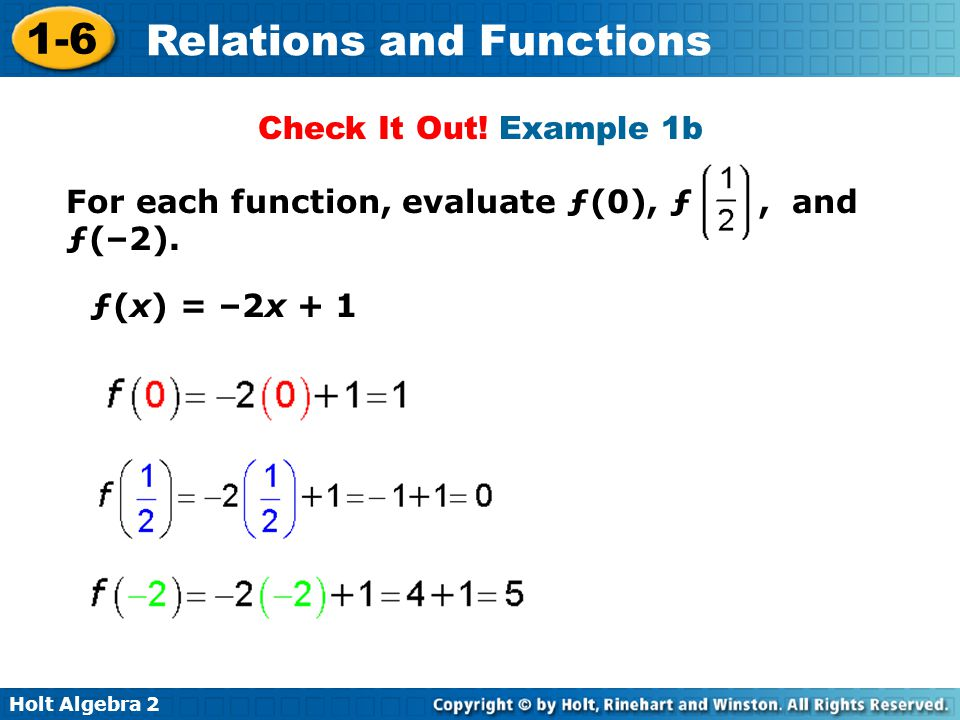 Check It Out! Example 1b For each function, evaluate ƒ(0), ƒ , and ƒ(–2). ƒ(x) = –2x + 1