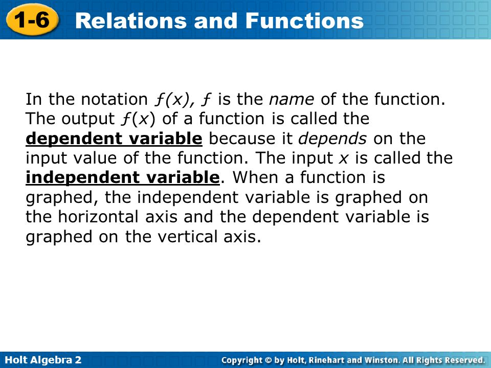 In the notation ƒ(x), ƒ is the name of the function