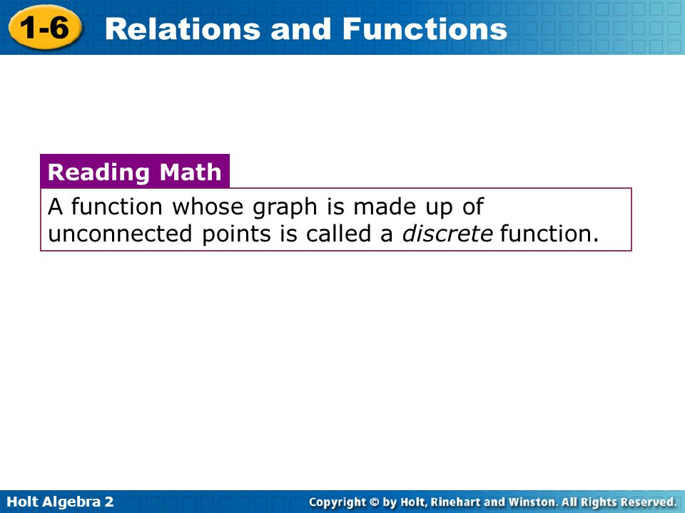 A function whose graph is made up of unconnected points is called a discrete function.