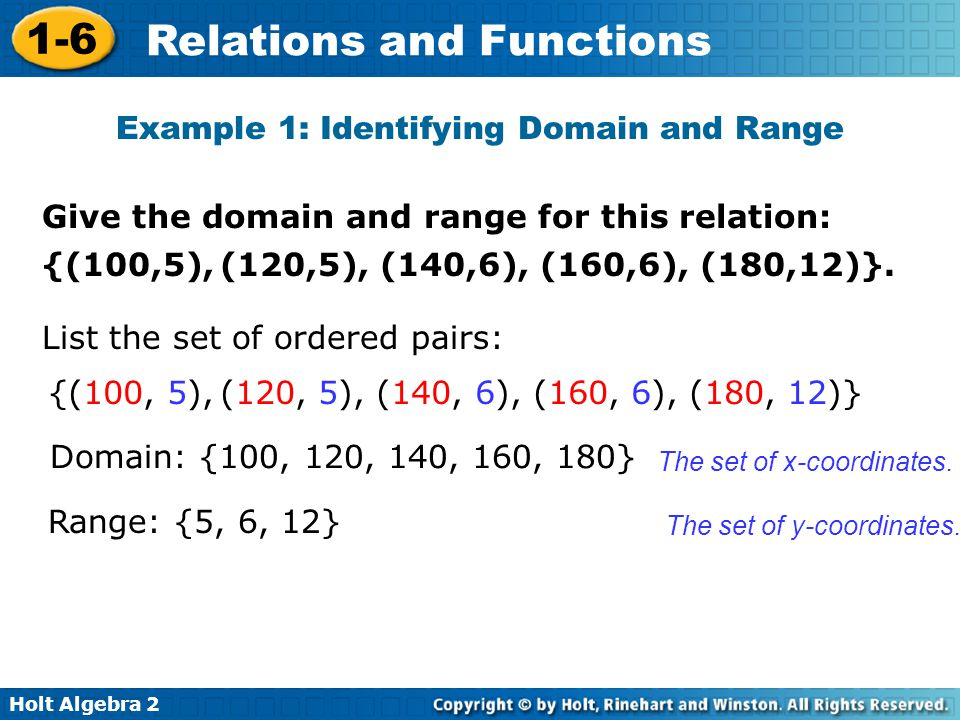 Example 1: Identifying Domain and Range
