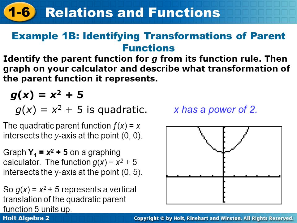 Example 1B: Identifying Transformations of Parent Functions