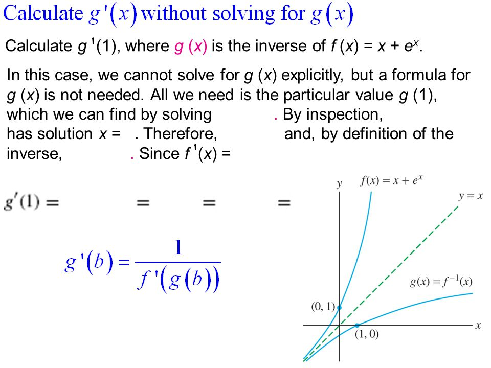 Calculate g (1), where g (x) is the inverse of f (x) = x + ex.