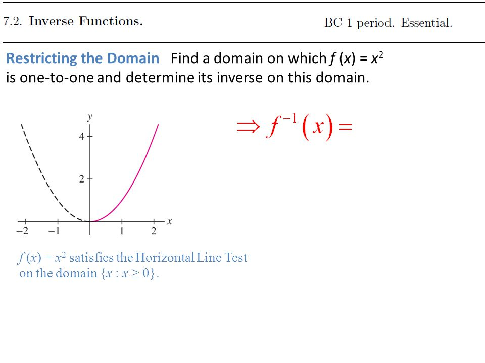 Restricting the Domain Find a domain on which f (x) = x2 is one-to-one and determine its inverse on this domain.