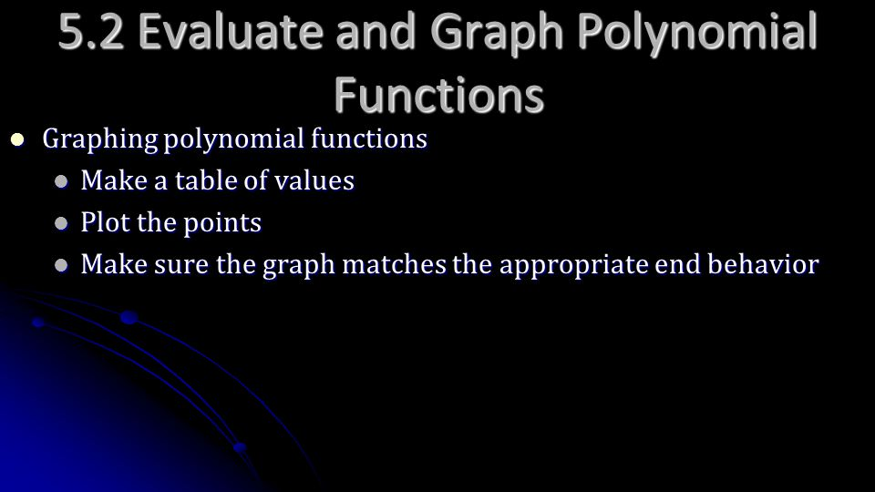 5.2 Evaluate and Graph Polynomial Functions
