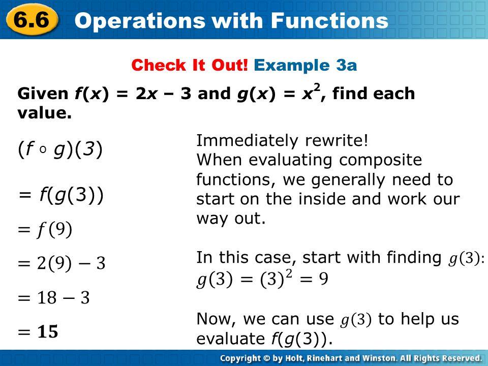 (f o g)(3) = f(g(3)) =𝑓 9 =2 9 −3 𝑔 3 =( 3) 2 =9 =18−3 =𝟏𝟓