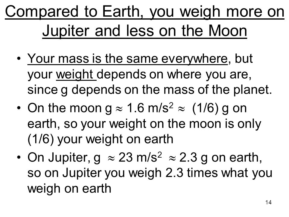 Compared to Earth, you weigh more on Jupiter and less on the Moon