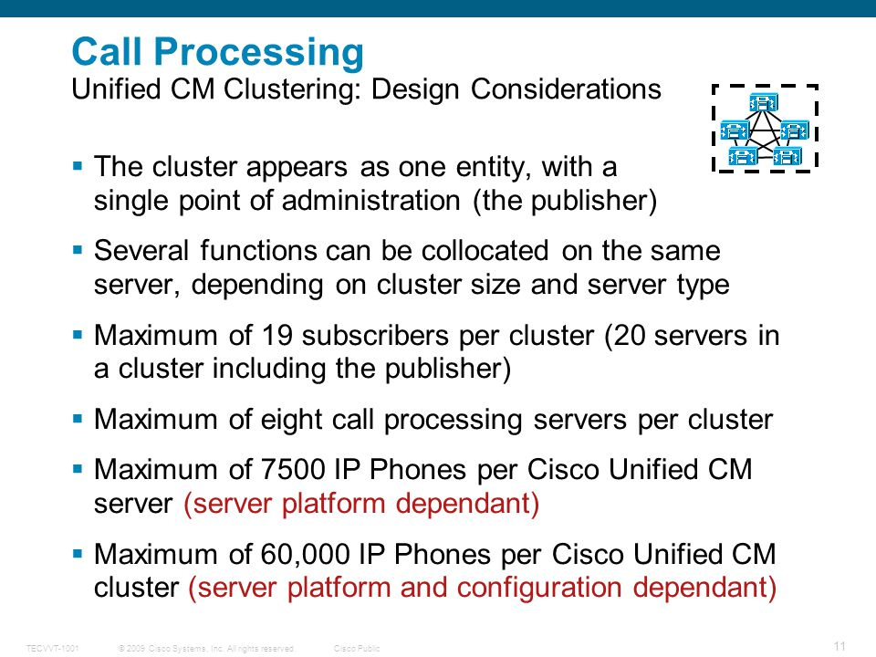 Call Processing Unified CM Clustering: Design Considerations