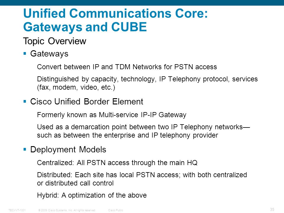 Unified Communications Core: Gateways and CUBE