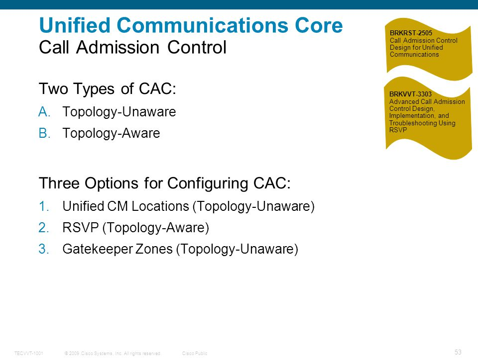 Unified Communications Core Call Admission Control