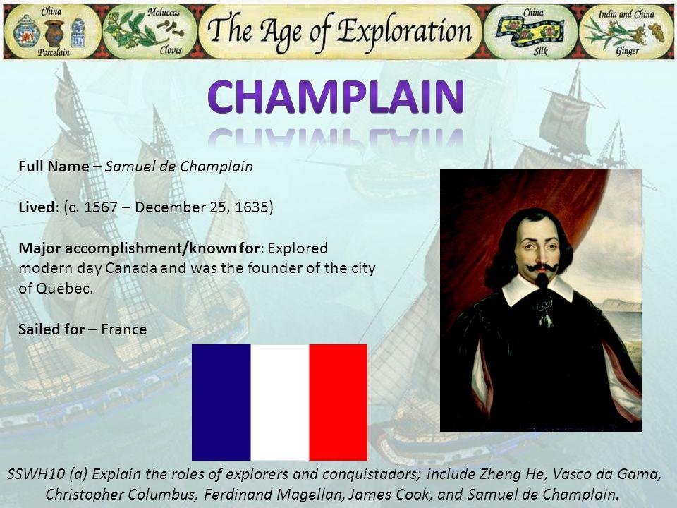Champlain Full Name – Samuel de Champlain