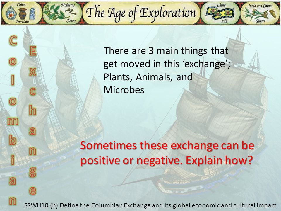 Colombian Exchange. There are 3 main things that get moved in this 'exchange'; Plants, Animals, and Microbes.