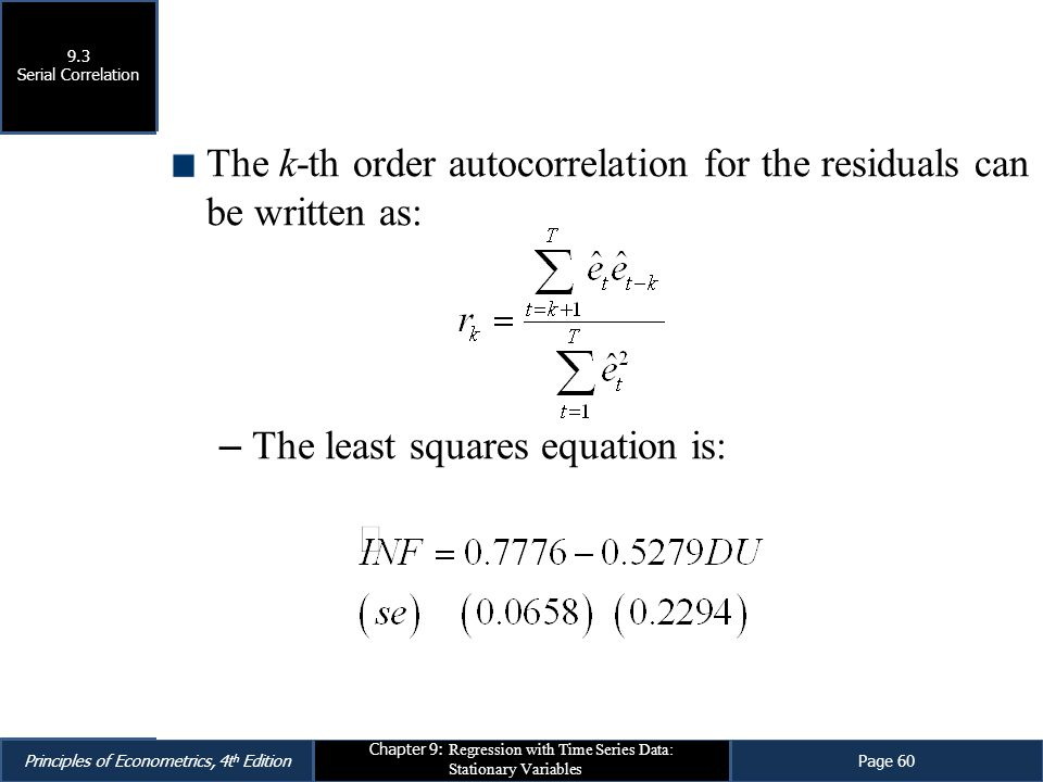 The k-th order autocorrelation for the residuals can be written as:
