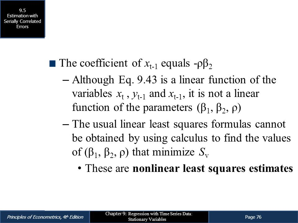 The coefficient of xt-1 equals -ρβ2