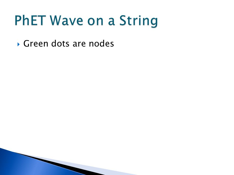 PhET Wave on a String Green dots are nodes
