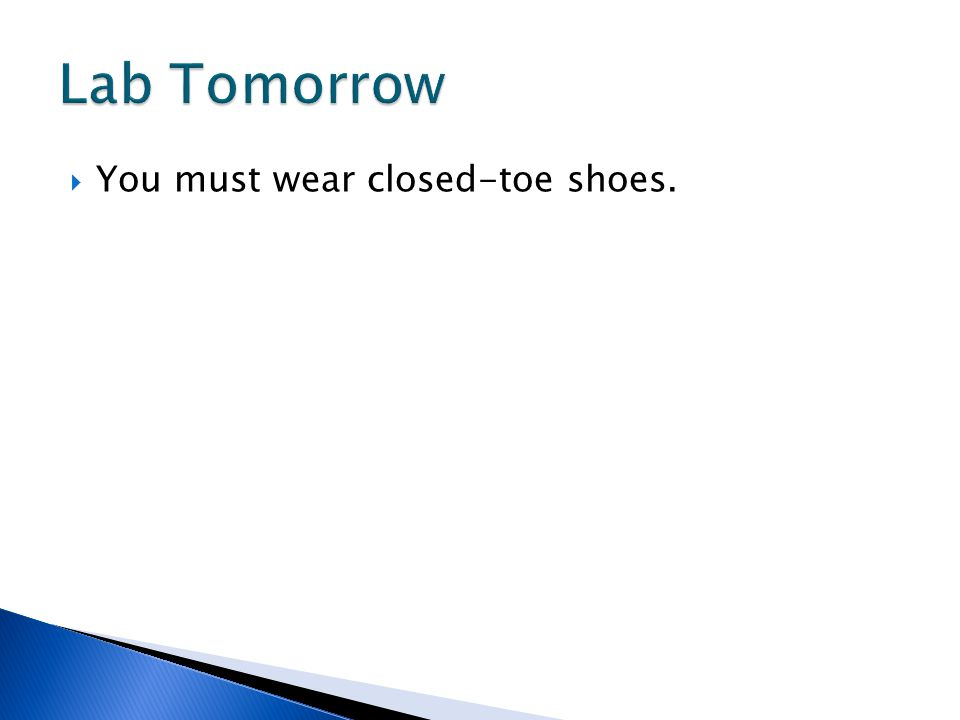 Lab Tomorrow You must wear closed-toe shoes.
