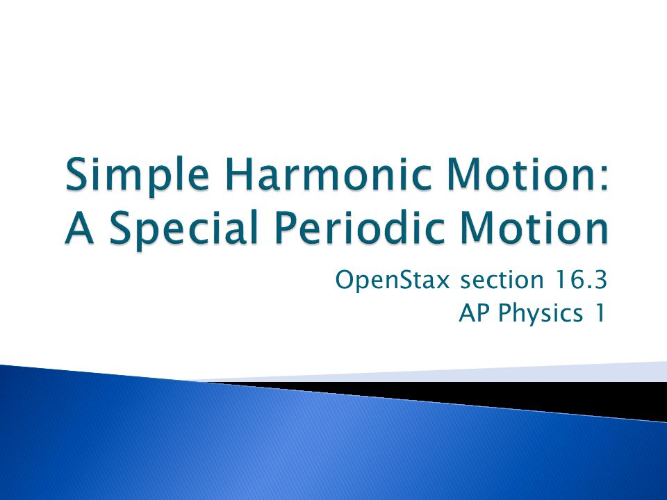 Simple Harmonic Motion: A Special Periodic Motion
