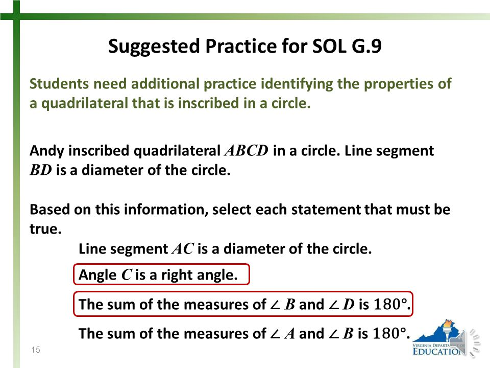 Suggested Practice for SOL G.9