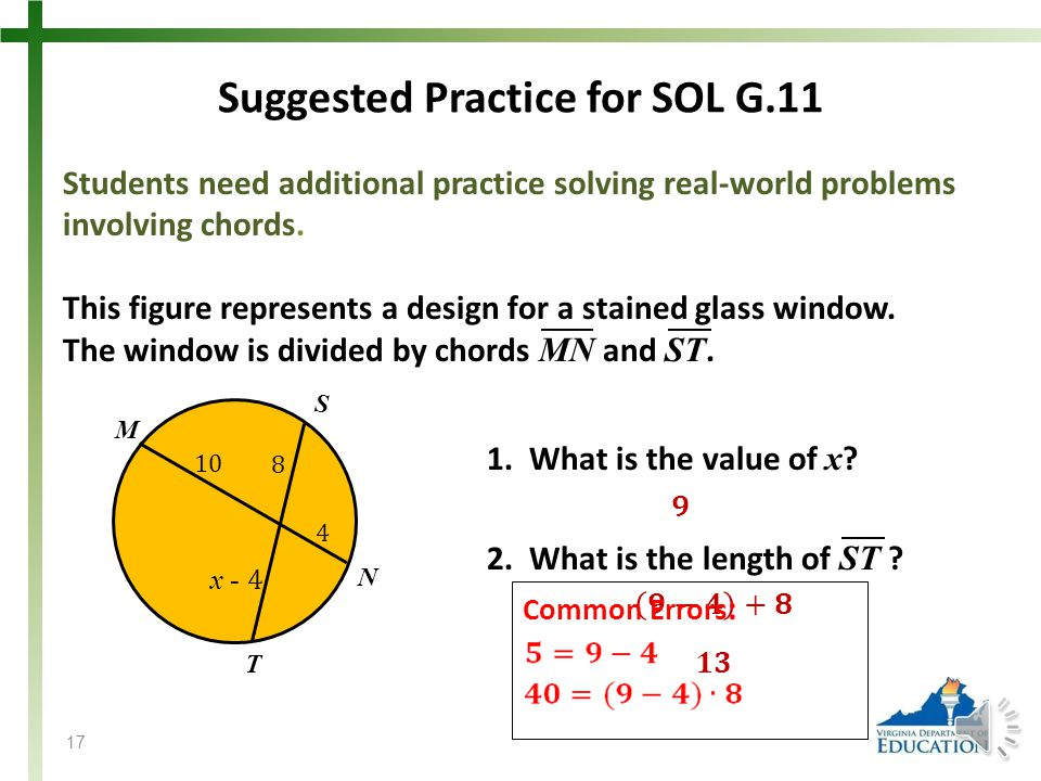 Suggested Practice for SOL G.11