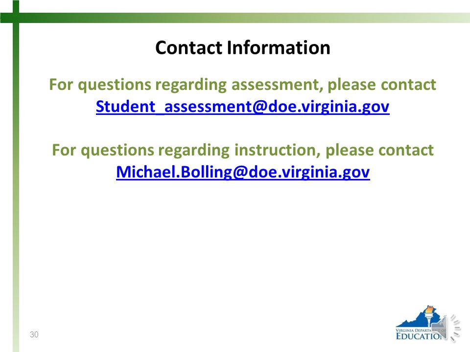 For questions regarding assessment, please contact