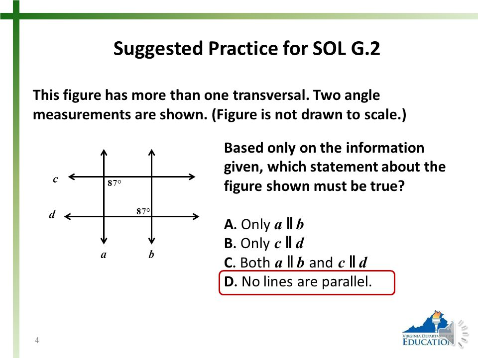 Suggested Practice for SOL G.2