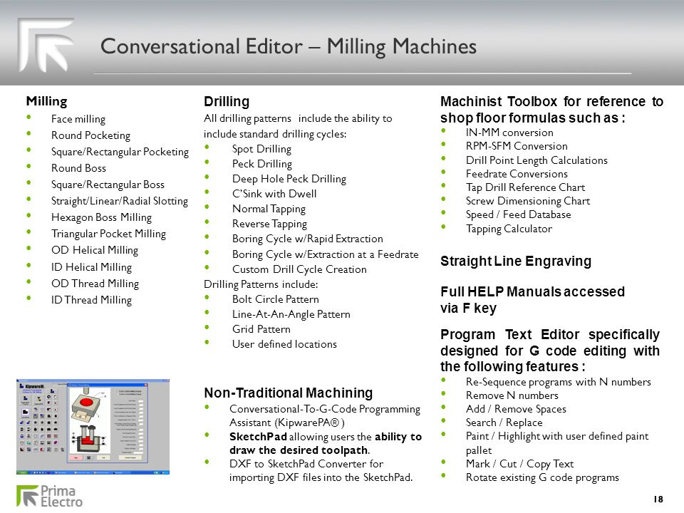 Conversational Editor – Milling Machines