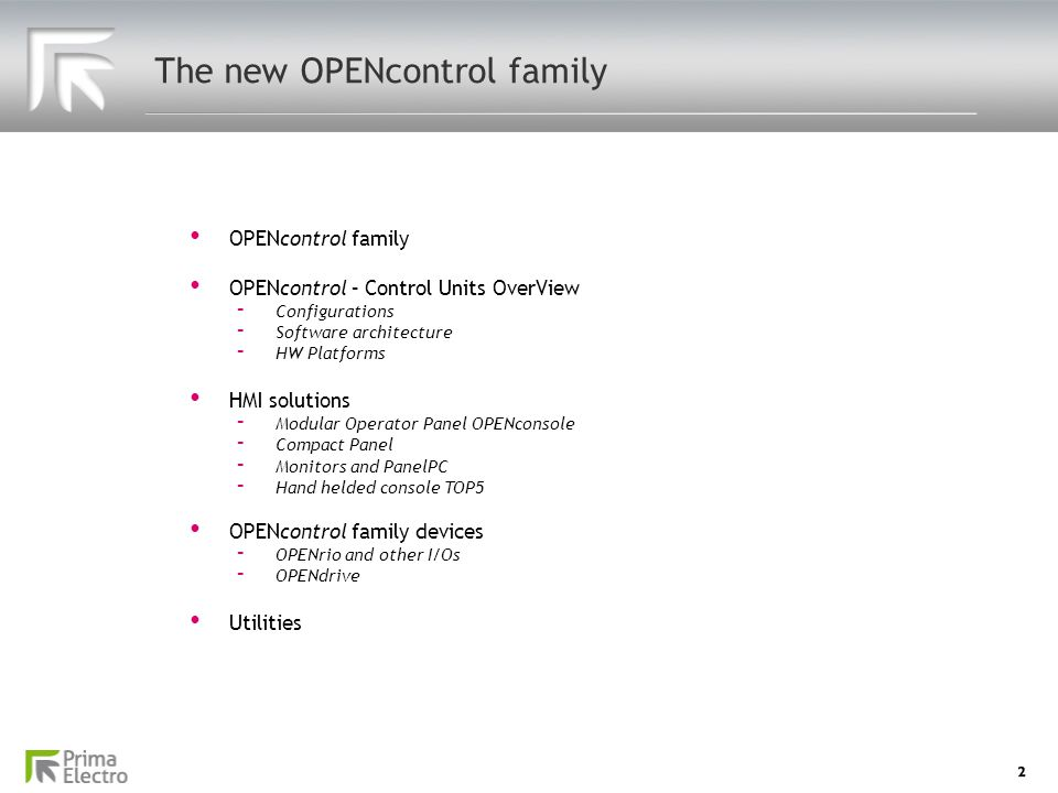 The new OPENcontrol family