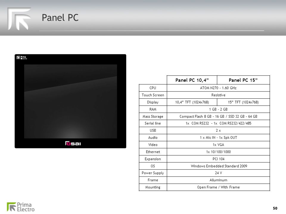 Panel PC Panel PC 10,4 Panel PC 15 CPU ATOM N270 – 1.60 GHz