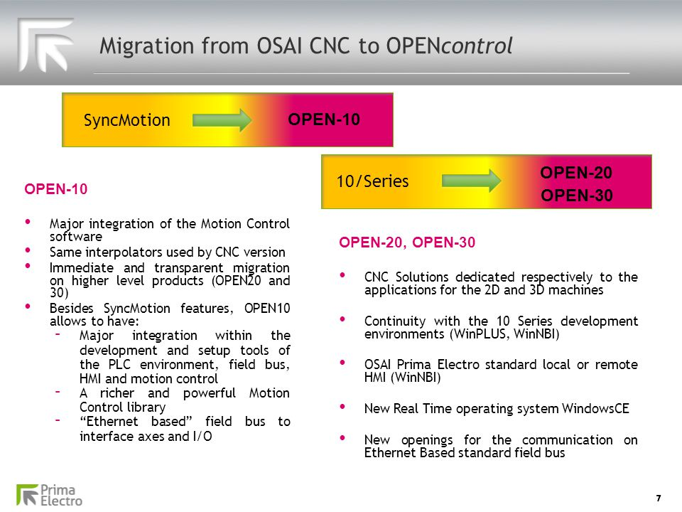 Migration from OSAI CNC to OPENcontrol