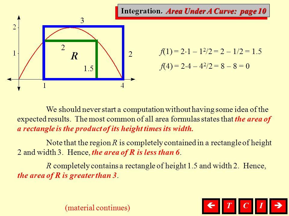 Integration. Area Under A Curve: page 10