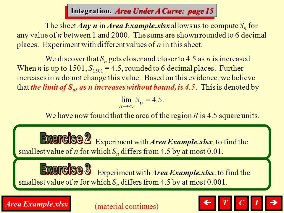 Integration. Area Under A Curve: page 15