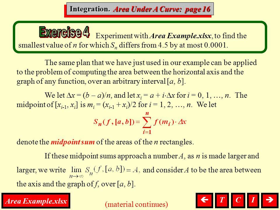 Integration. Area Under A Curve: page 16