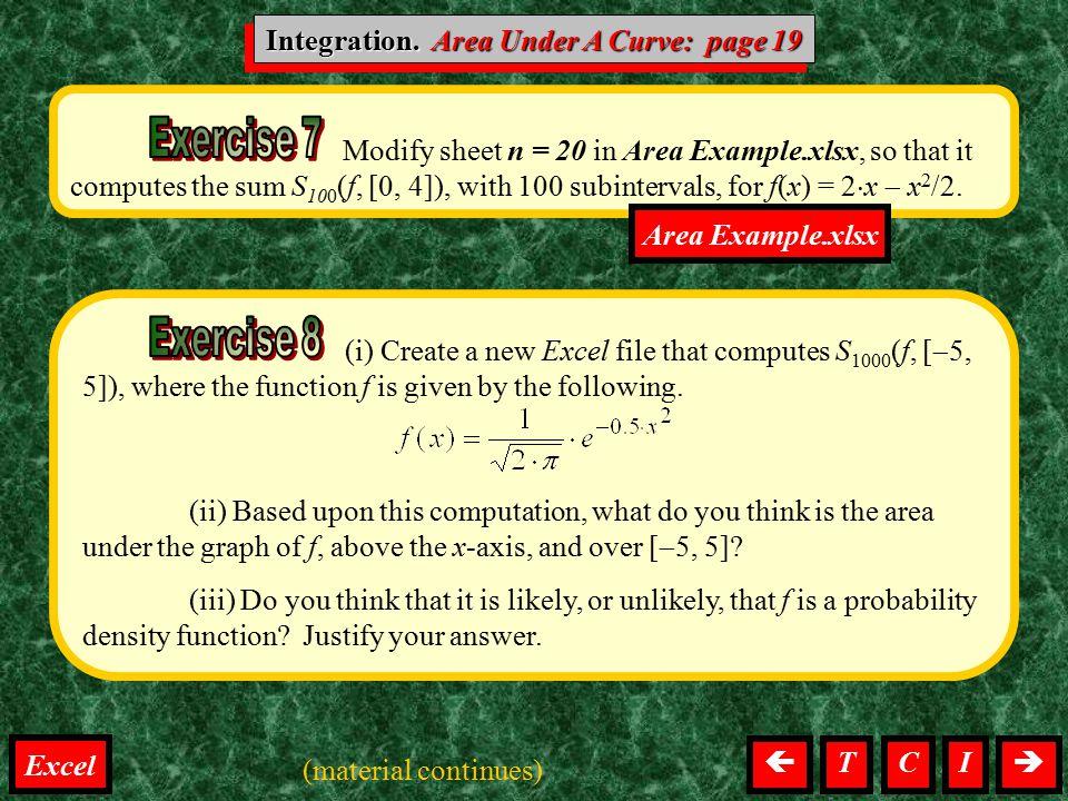 Integration. Area Under A Curve: page 19