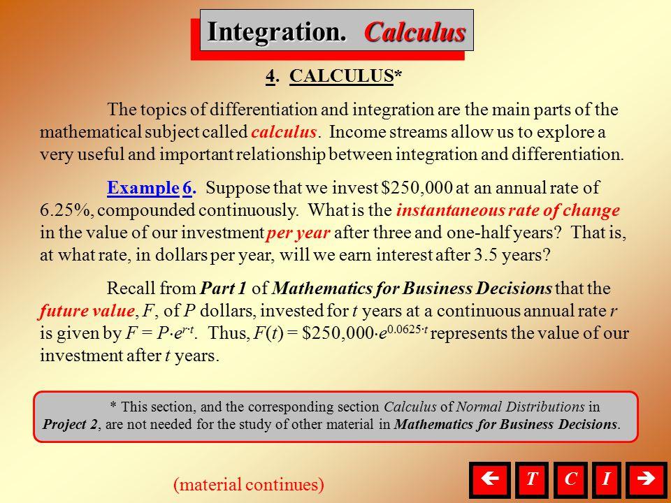 Integration. Calculus 4. CALCULUS*
