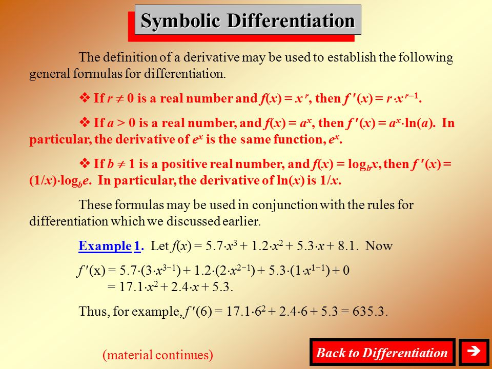 Symbolic Differentiation