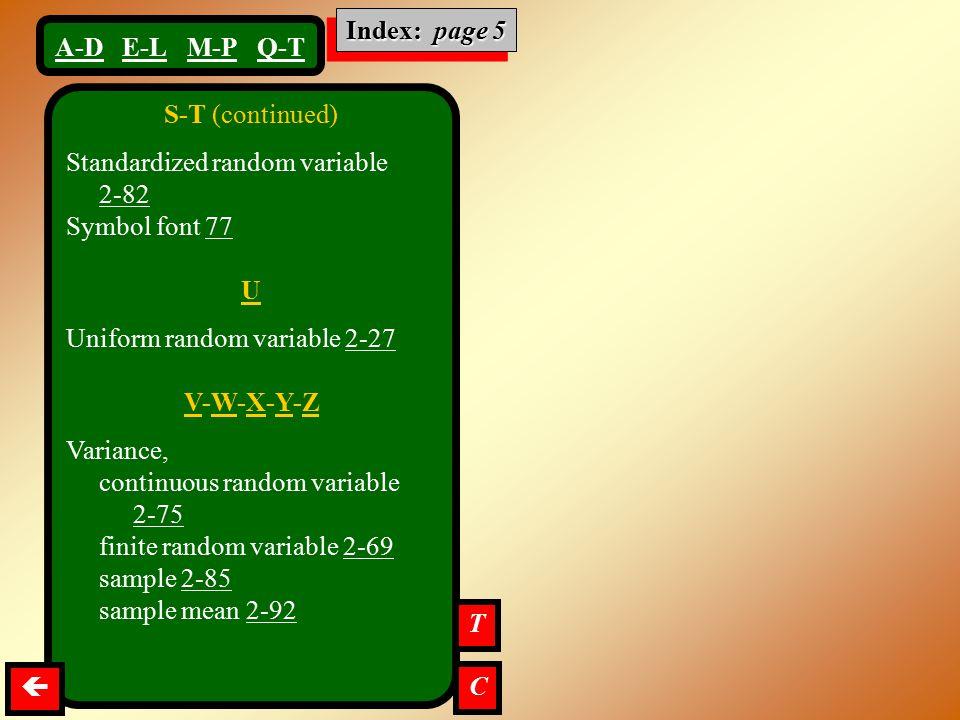Index: page 5 U V-W-X-Y-Z T  C