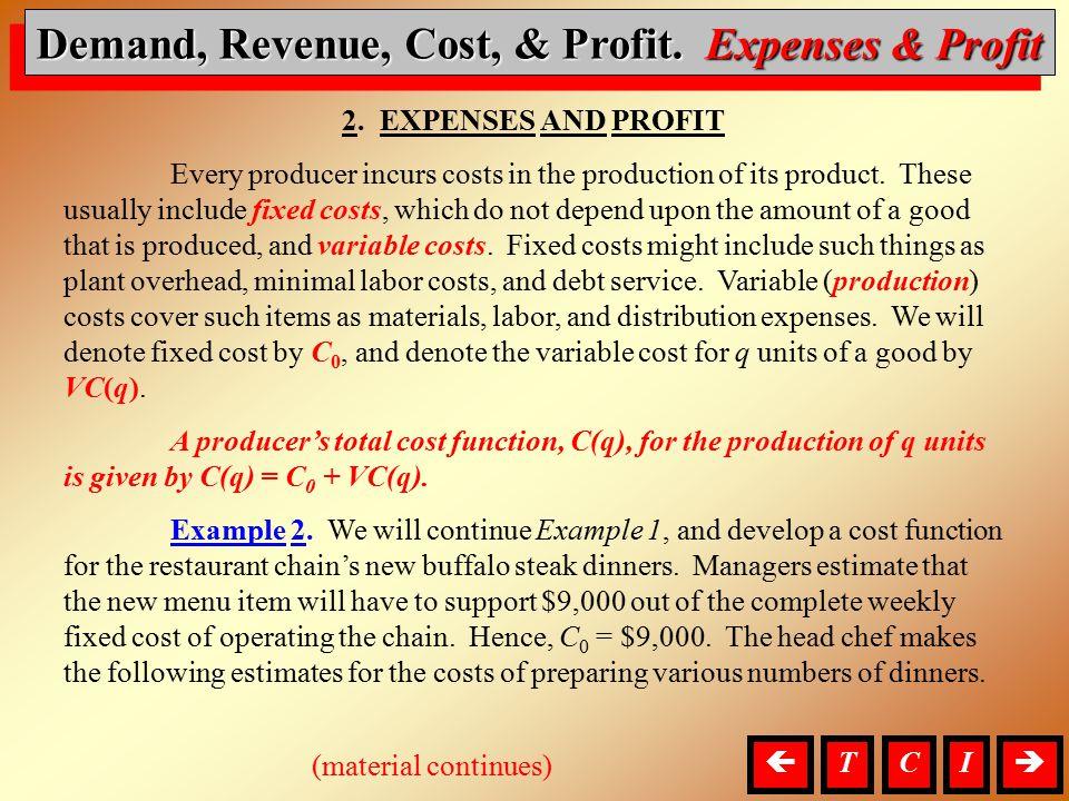 D, R, C, & P, Expenses & Profit