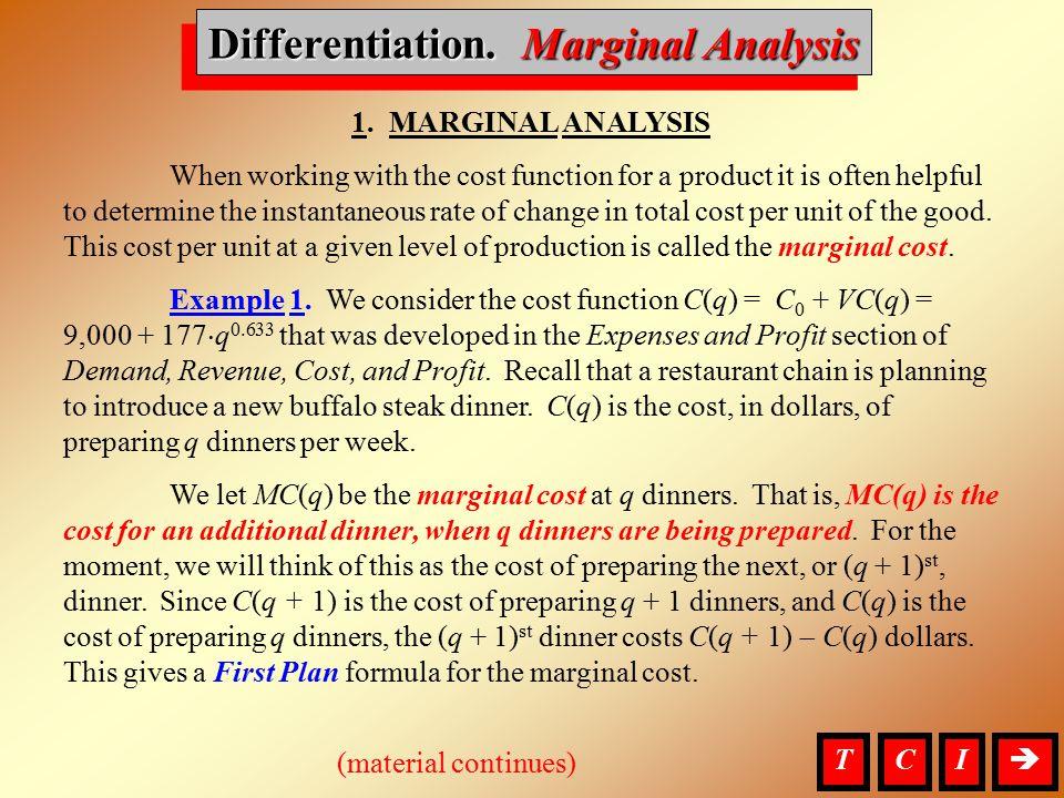 Differentiation, Marginal Analysis