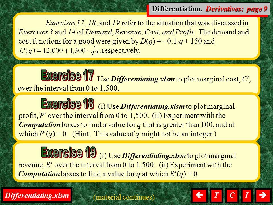 Differentiation, Derivatives