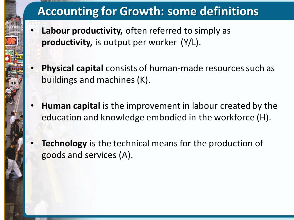 Accounting for Growth: some definitions