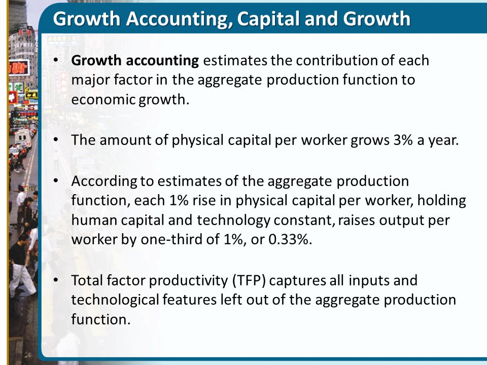 Growth Accounting, Capital and Growth