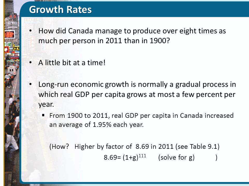 Growth Rates How did Canada manage to produce over eight times as much per person in 2011 than in 1900