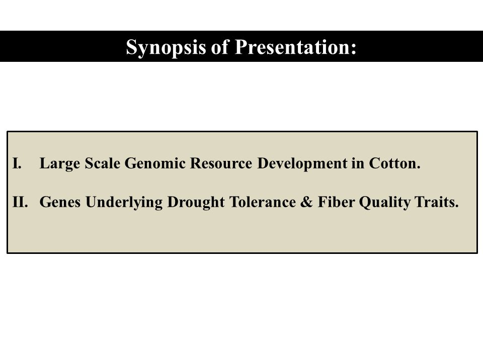 Synopsis of Presentation: