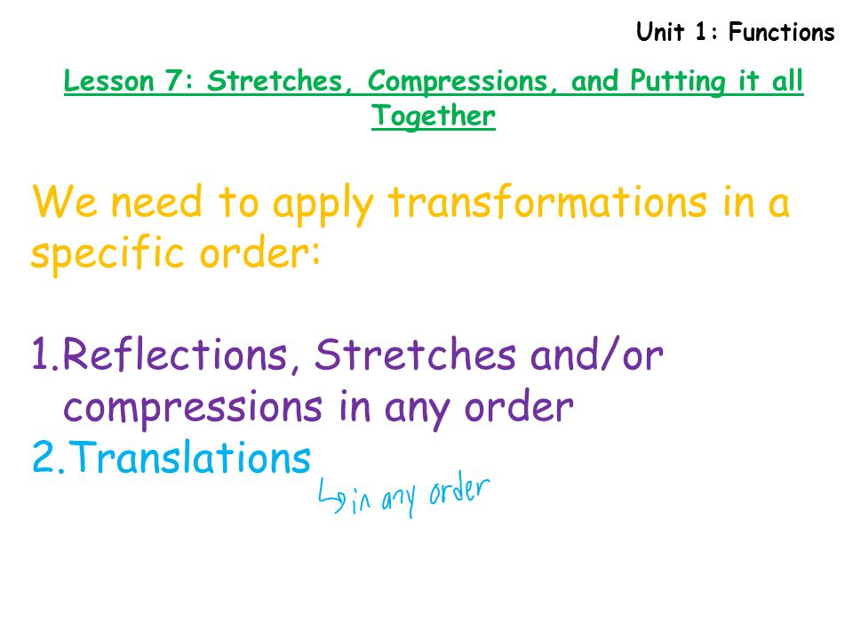 Lesson 7: Stretches, Compressions, and Putting it all Together
