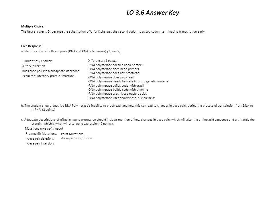 LO 3.6 Answer Key Multiple Choice: