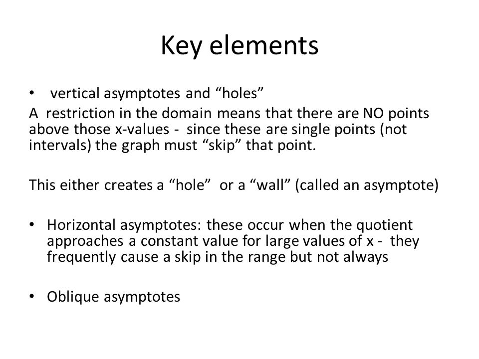 Key elements vertical asymptotes and holes
