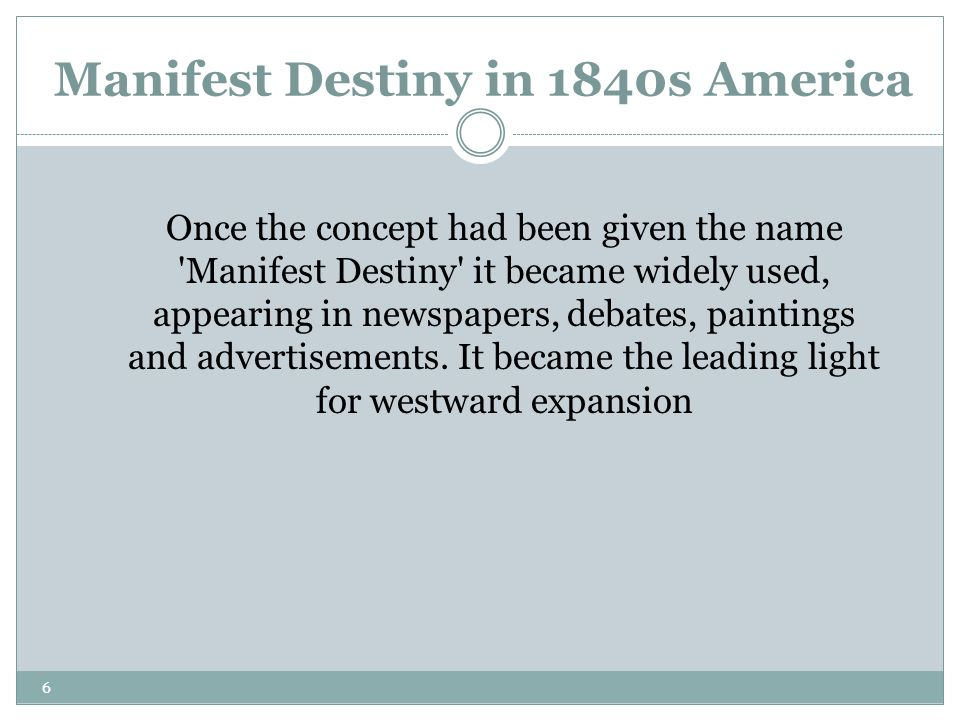 Manifest Destiny in 1840s America
