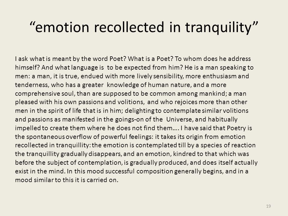 emotion recollected in tranquility