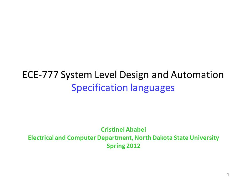 ECE-777 System Level Design and Automation Specification languages