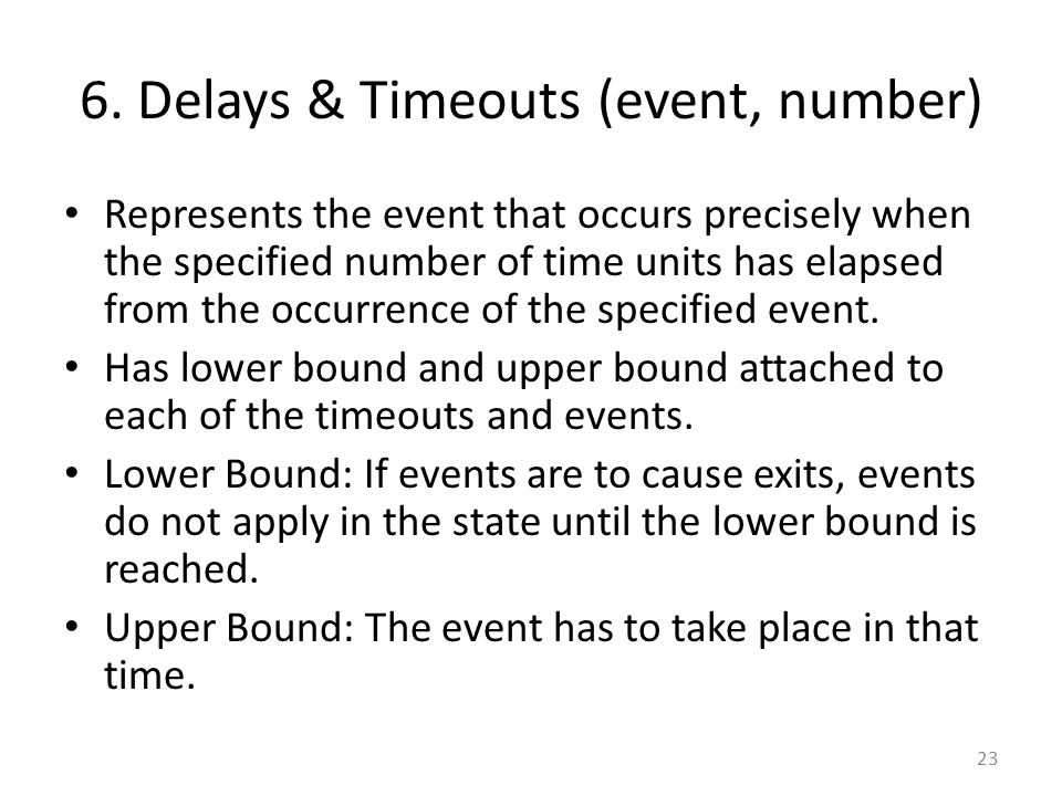 6. Delays & Timeouts (event, number)