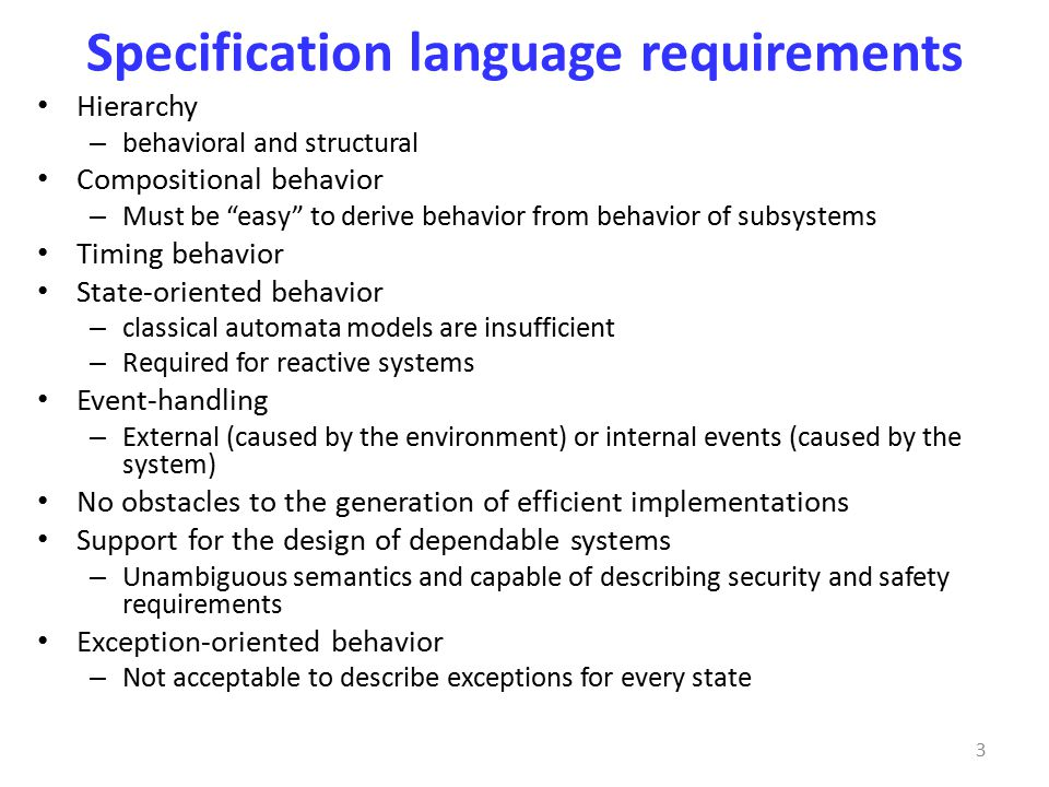 Specification language requirements